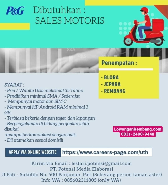 Lowongan Kerja Sales Motoris PT Potensi Media Elaborasi Penempatan Rembang Blora Jepara