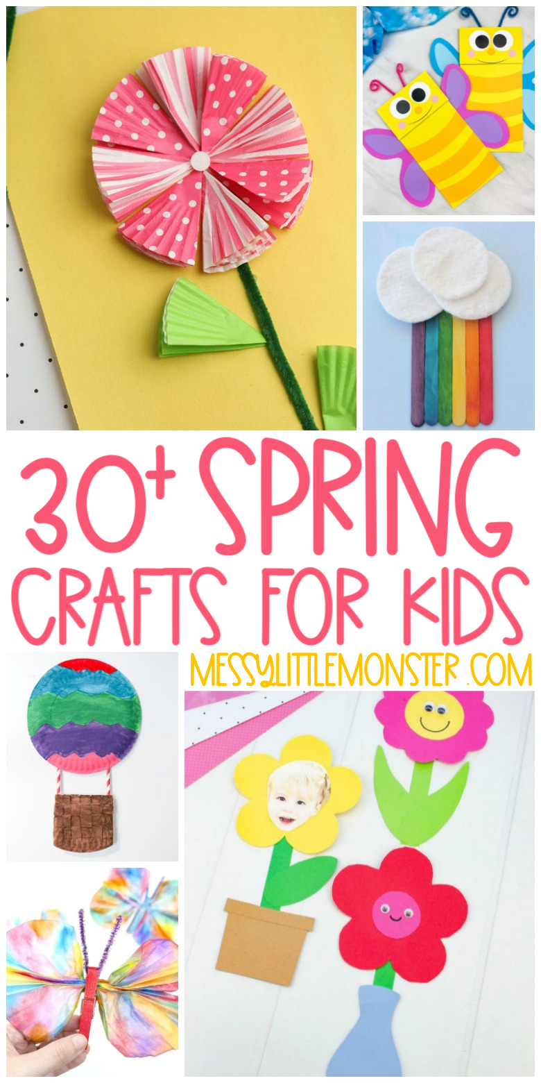 30 Spring crafts for kids. Butterfly crafts, flower crafts, rainbow crafts and bird crafts!