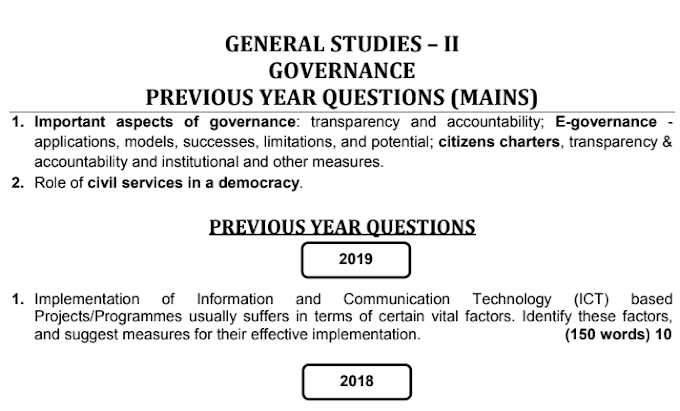 UPSC Mains GS 2 Governance Previous Year Questions PDF [2013-19]
