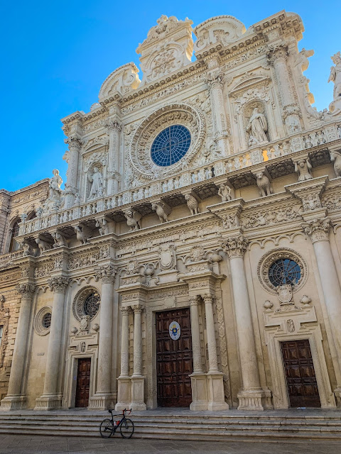 cycling in salento apulia carbon road bike rental in lecce basilica santa croce