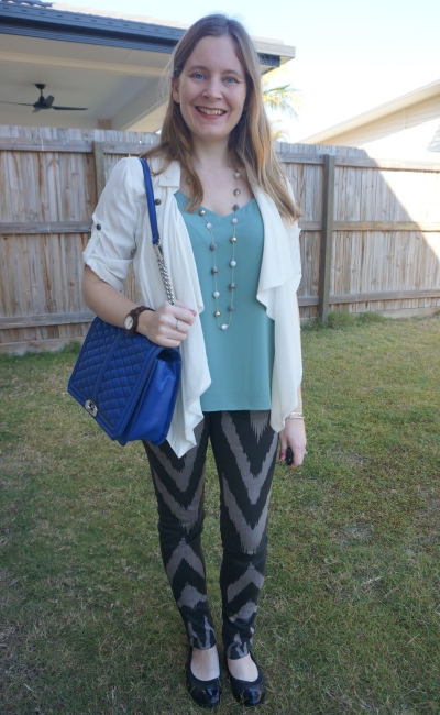 sass bide playman chevron print skinny jeans with mint cami white jacket and cobalt jumbo love bag   away from blue