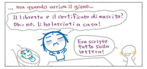 ...ma quando arriva il giorno... Il libretto e il certificato di nascista? Oh, no, li ho lasciati a casa! Era scritto tutto sulla lettera!