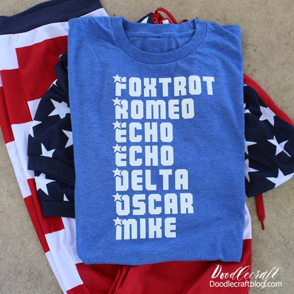 FREEDOM Phonetic Alphabet Patriotic Shirt made with Cricut Maker!
