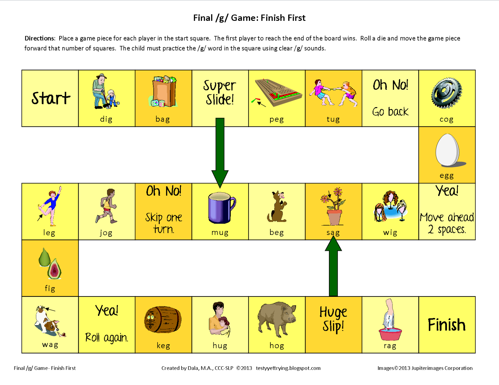 Testy Yet Trying Final G Printable Speech Game Finish