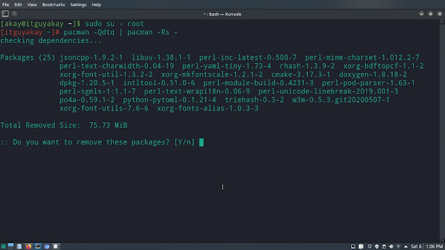 pacman remove dependency which are not required arch linux