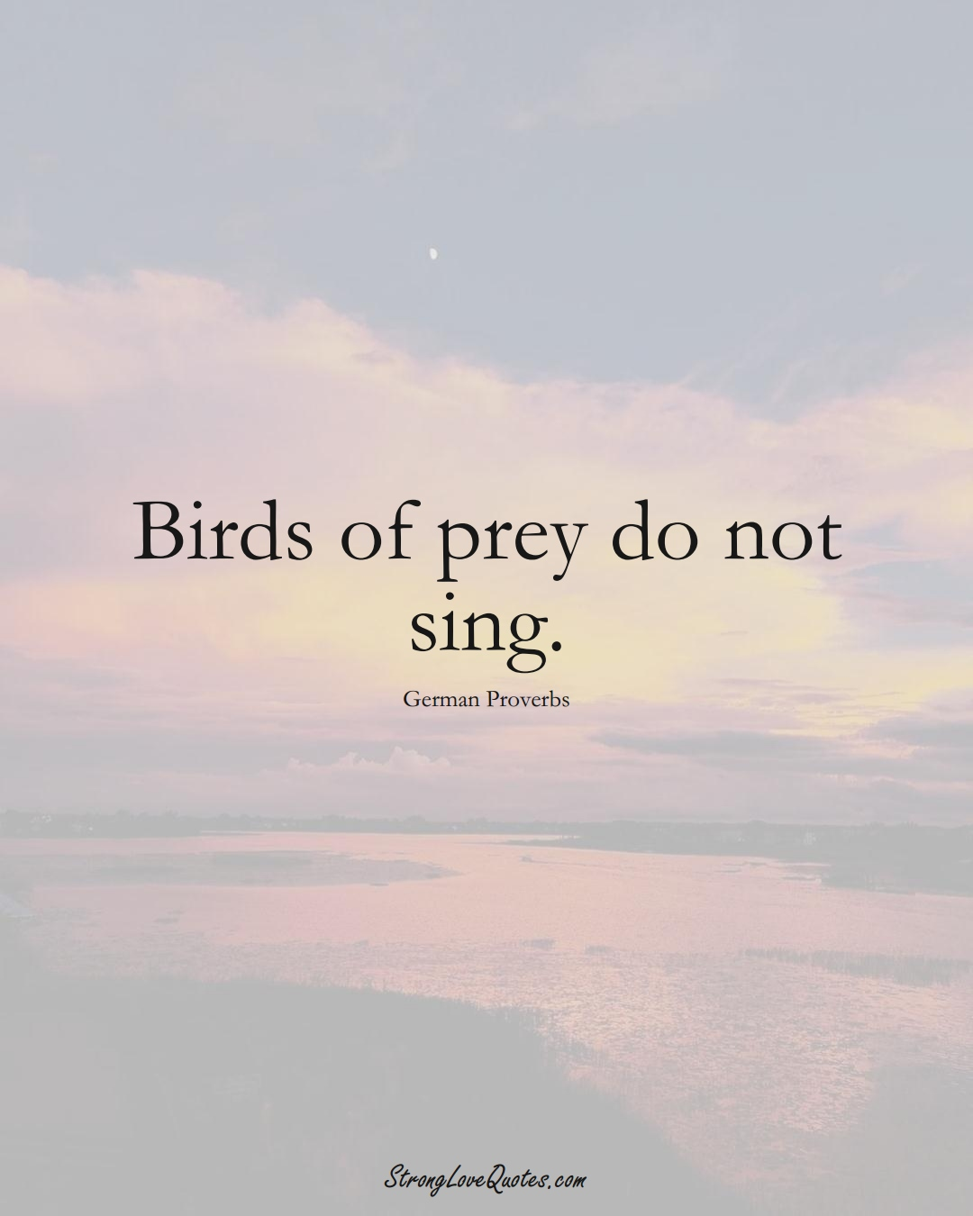 Birds of prey do not sing. (German Sayings);  #EuropeanSayings