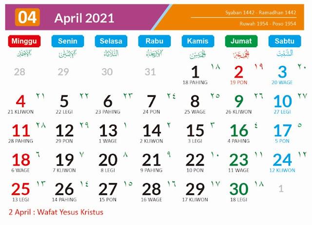 Kalender Bulan April 2021 dan Hari Peringatannya