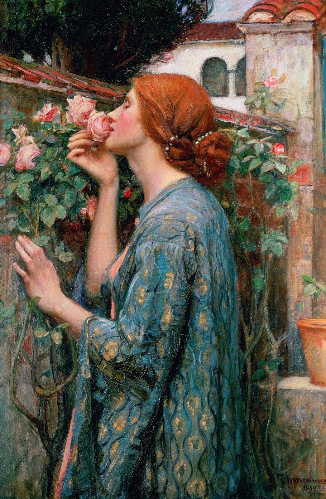 Girl kissing roses petals