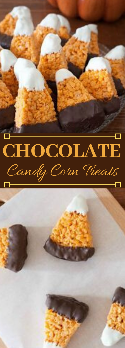Chocolate Dipped Candy Corn Treats #healthydiet #dessert #chocolate #corn #snack