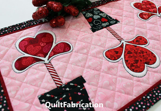 two heart flowers on a table runner by QuiltFabrication