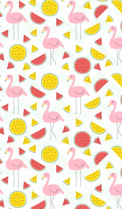 Flamingo and watermelon-Green-