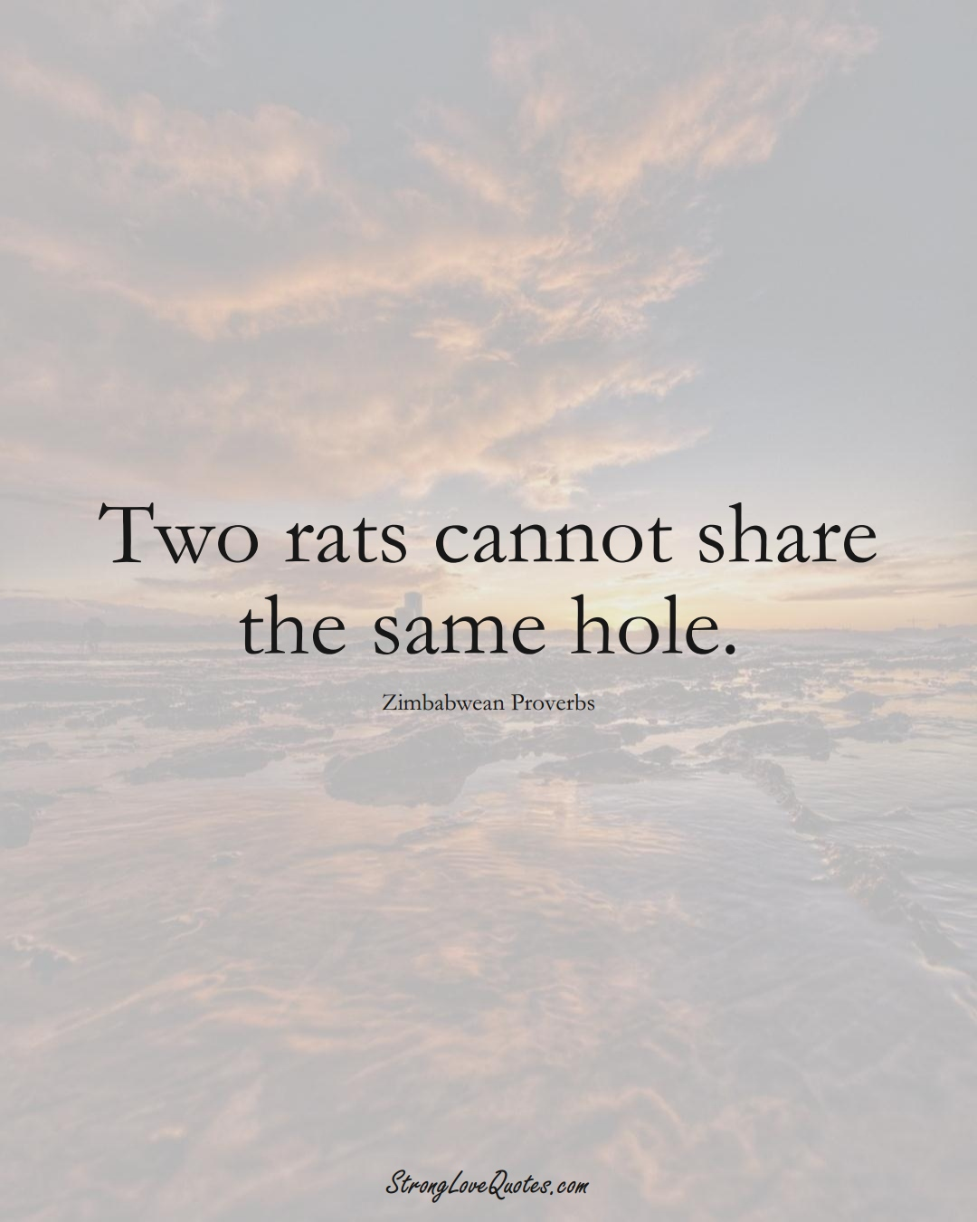 Two rats cannot share the same hole. (Zimbabwean Sayings);  #AfricanSayings