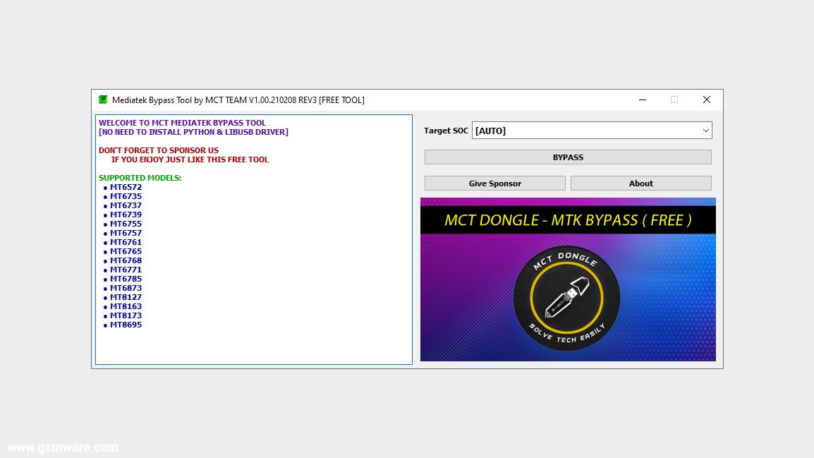 MediaTek Bypass Tool V1.00.210208 REV3 By MCT Team