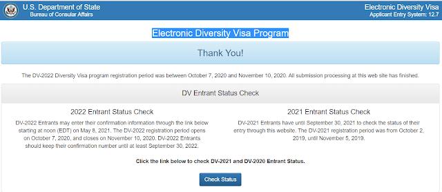 EDV 2022, Green Card Lottery