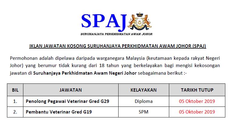 Peluang Pekerjaan Di Suruhanjaya Perkhidmatan Awam Negeri Johor Spaj Ejawatankini Com