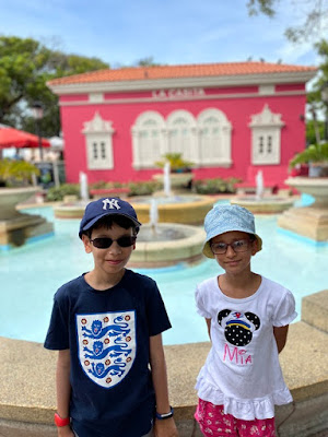 Two children on holiday in Puerto Rico