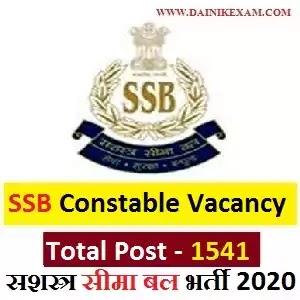 SSB Constable Recruitment 2020 Apply Online 1541 Constable, Inspector & Other Vacancies SSB Jobs 2020, DainikExam com