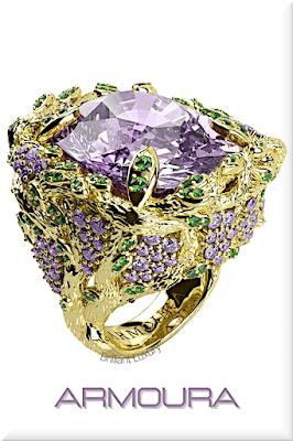 ♦Armoura Wisteria tanzanite peridot amethyst 18k yellow gold ring #jewelry #armoura #brilliantluxury