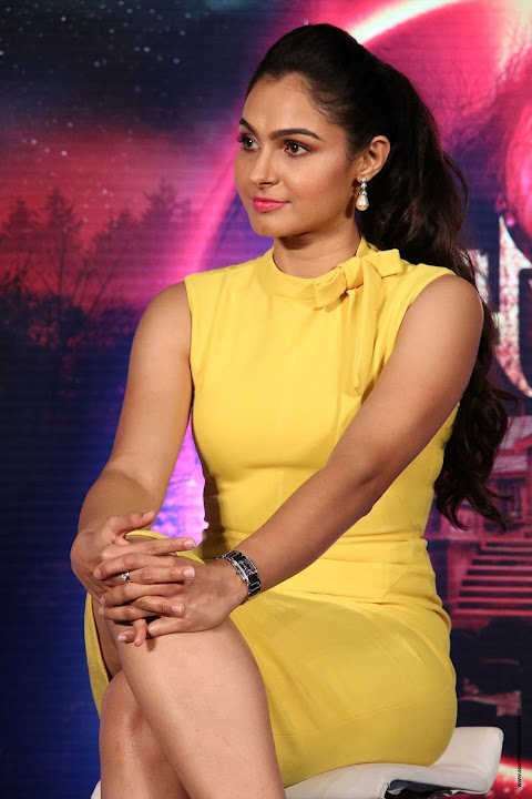 Andrea Jeremiah in Yellow Sleeveless dress at Aval Movie Trailer Launch