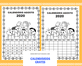 Calendário agosto turma da Mônica para imprimir colorir e preencher em 2020.