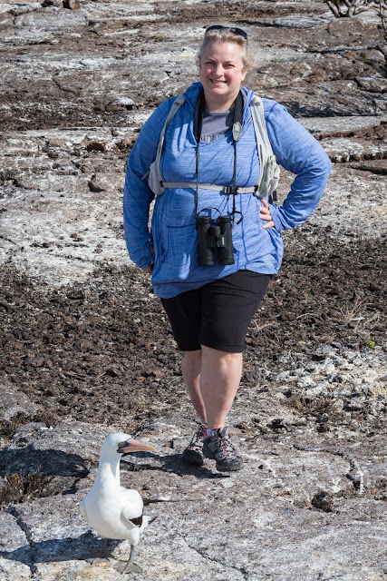 Danelle with Nazca Booby, Genovesa Island