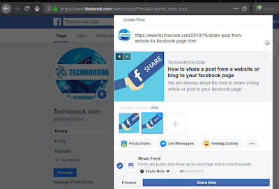 post website url to your facebook page