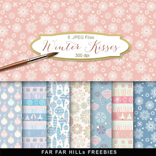 New Freebies Kit of Backgrounds - Winter Kisses