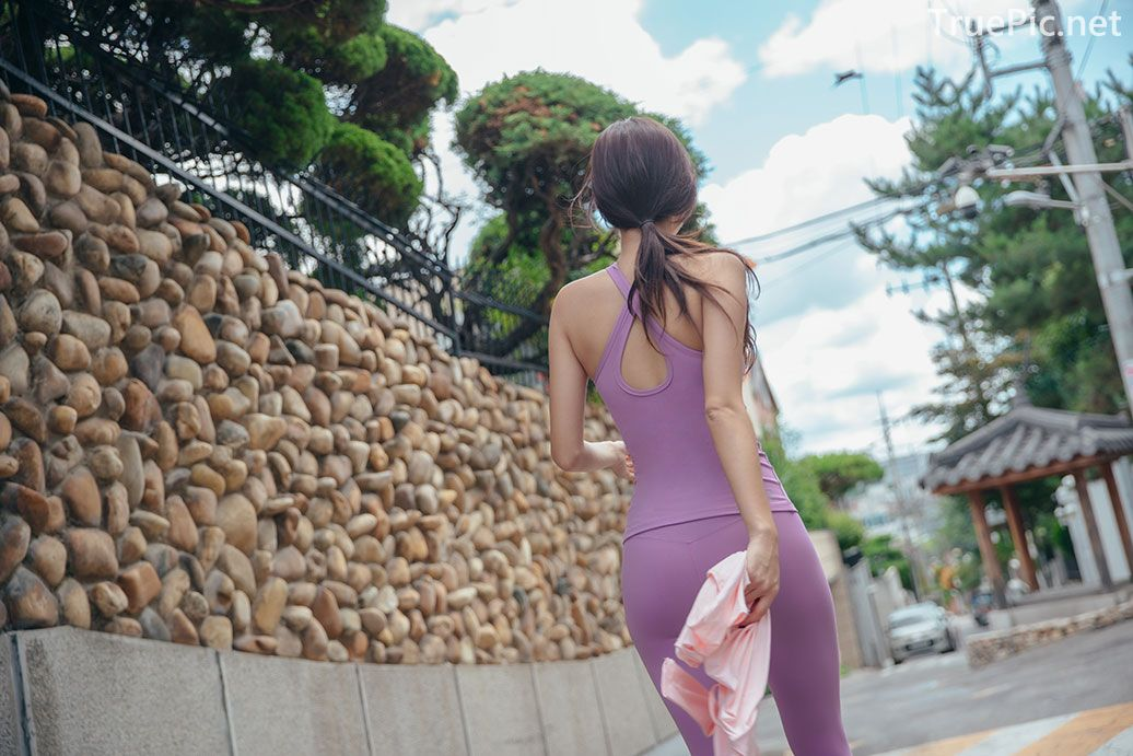 Korean model and fashion - Park Da Hyun - Plum Violet Fitness Set - Picture 9
