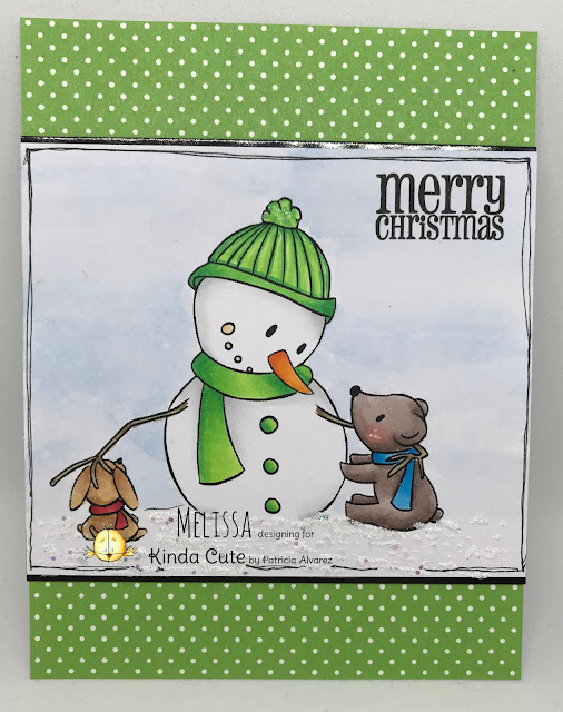 Christmas card with snowman and friends digital stamp