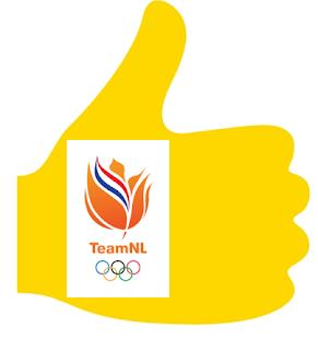 Op Hendrie Writes wordt er geduimd voor tijdens de Olympische Spelen