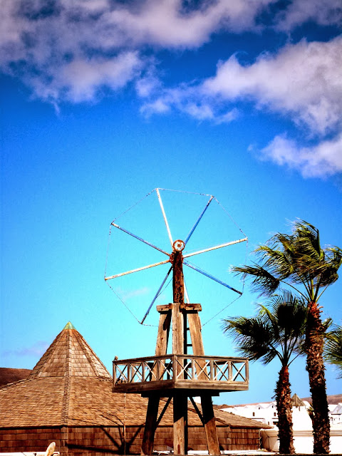 Windrad auf Lanzarote mit Palmen