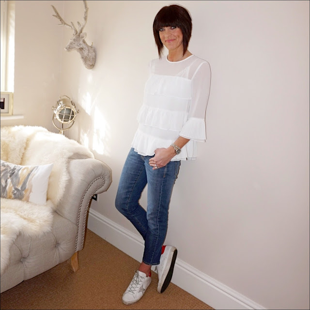 my midlife fashion,marks and spencer ruffle layer round neck ¾ sleeve blouse, baukjen the boyfriend jean, golden goose superstar leather low top trainer