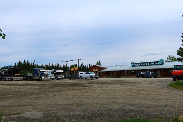 Fueling up at Yukon Motel and Restaurant in Teslin YT