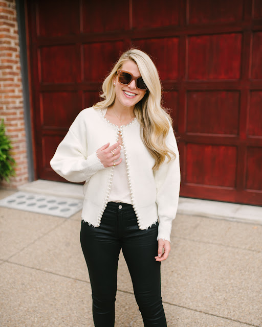 Pearl Cardigan and Coated Jeans