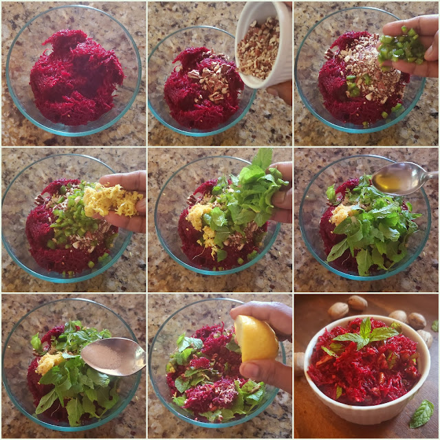 images of Raw Beetroot Walnut Salad / Beetroot Walnut Salad / Beetroot Salad - Healthy Salad Recipes