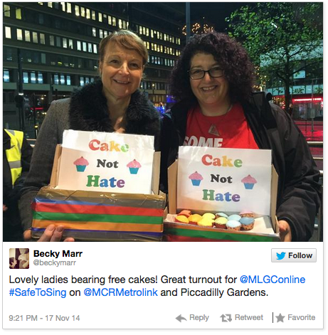 Twitter image from @BeckMarr for #SafeToSing event in Manchester