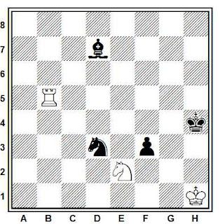 Estudio artistico de ajedrez de M. Matous (Memorial Bron - 1º Premio, 1990)