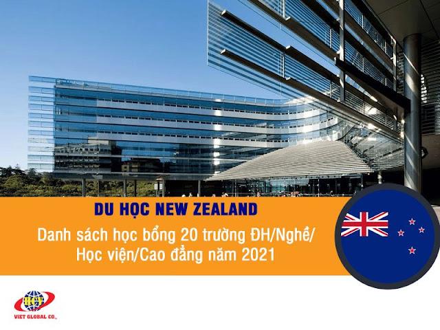 Học bổng New Zealand 2021: 20 trường Đại học/Nghề/Học viện/Cao đẳng