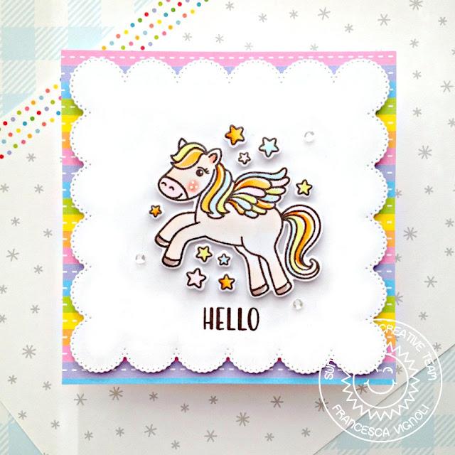 Sunny Studio Stamps: Prancing Pegasus Frilly Frame Dies Hello Card by Franci Vignoli