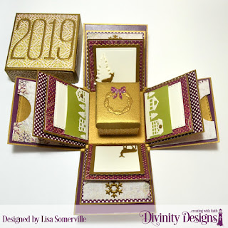 Divinity Designs Custom Dies: Long & Lean Numbers, Explosion Box, Explosion Box Pockets & Layers, Mini Box, Trees & Deers, Christmas Door Greenery, Neighborhood Border, Snow Crystals, Double Stitched Squares, Squares, Scalloped Squares, Pierced Squares, Paper Collections: Christmas 2015, Christmas Coordinating 2015