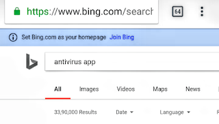 antivirus app search results bing