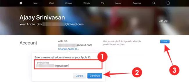 تغيير البريد الإلكتروني iCloud 9