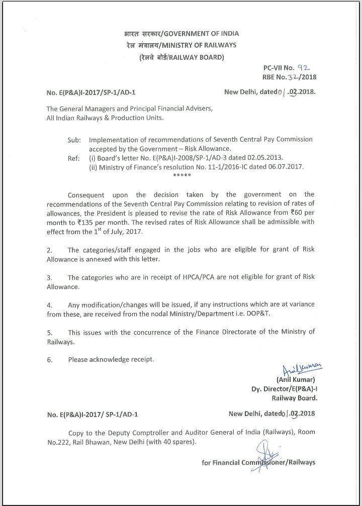 Railway rbe orders 2018 rbe 322018 implementation of recommendations of seventh pay commission accepted by the risk allowance thecheapjerseys Images