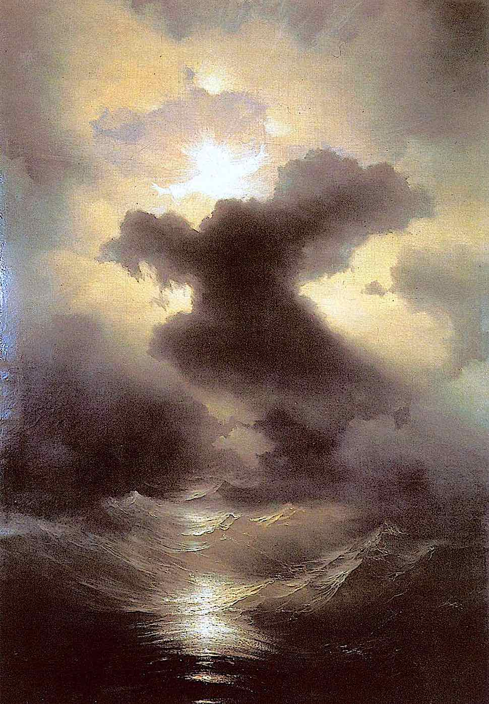 a Ivan Aivazovsky 1841 painting of stormy seas