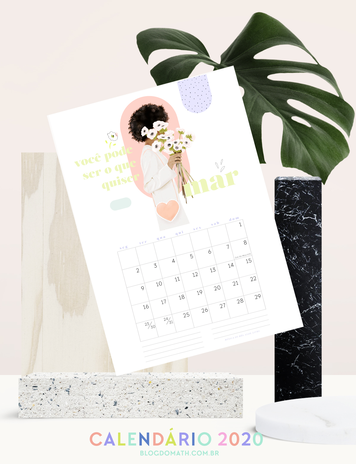 2020 printable colorful illustrated calendar