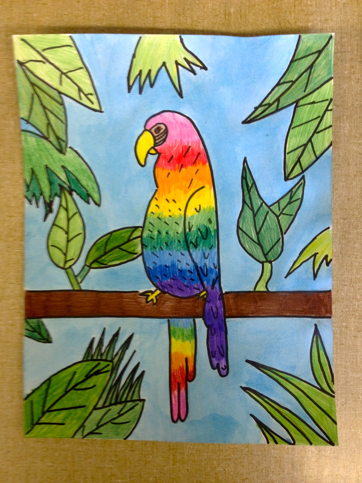 Color It Like You Mean It 5th Grade Art By Me Parrots