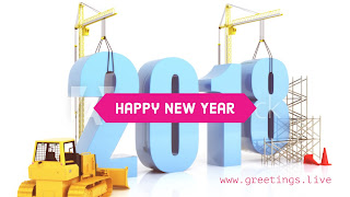 Creative graphic greetings idea 2018 fonts building with Heavy Construction equipment