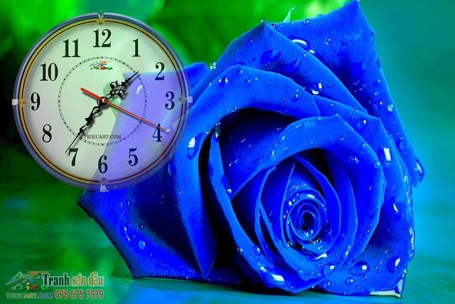 Tranh sơn dầu gắn đồng hồ