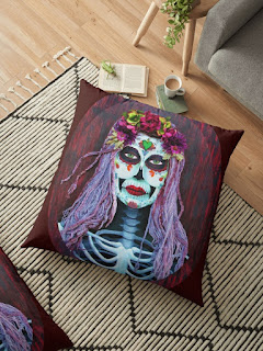 day of the dead catrina skull floor pillow