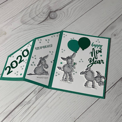 New Years Greeting Card with three donkeys using darling Donkeys Stamp Set